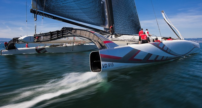 """The defender of the Cup!  The swiss team have entered a catamaran, named """"Alinghi"""""""