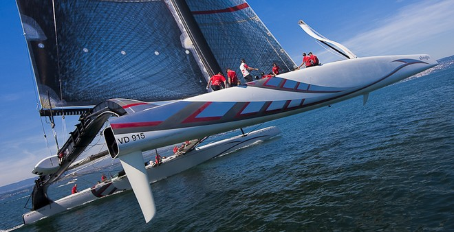 Alinghi flying a hull a day after her christening!