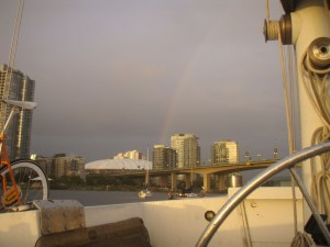 a rainbow at sunset - one example of why I'm still out here