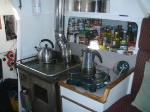 the diesel stove poses with the propane burner