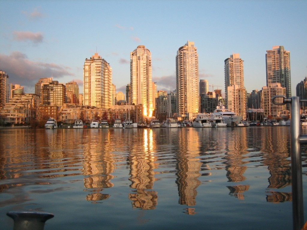 a view of Yaletown from the water, on a cold December day