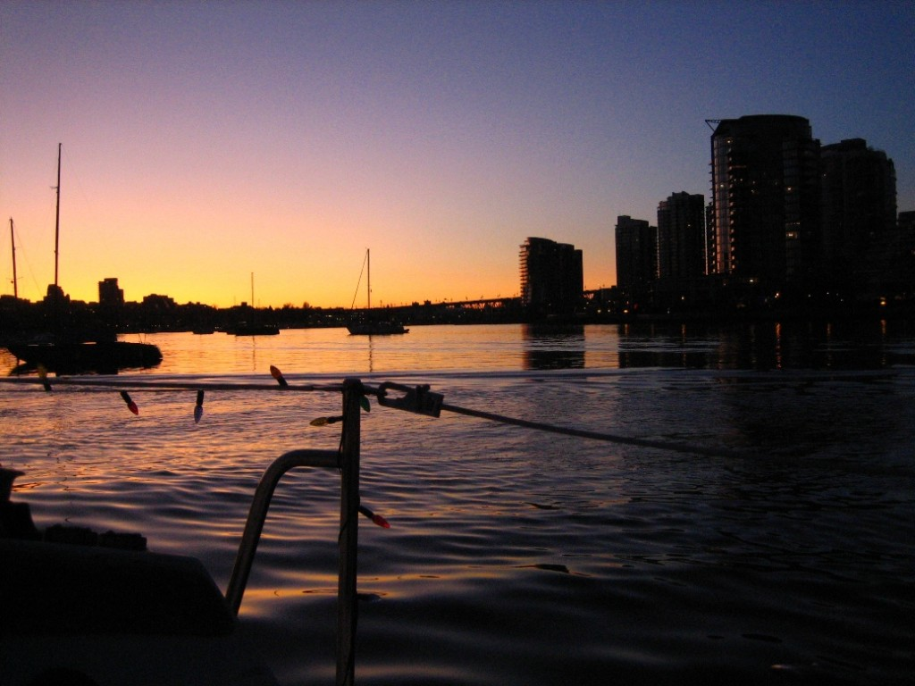 sunset on False Creek in December, from And-E