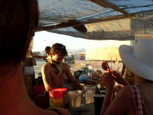tending bar for a crowd of about 3000 dancing lunatics at the Deep End camp at Burning Man 2008