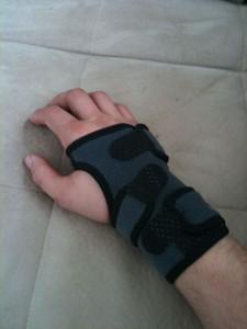 my hand in a wrist brace