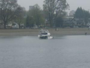 sunken powerboat