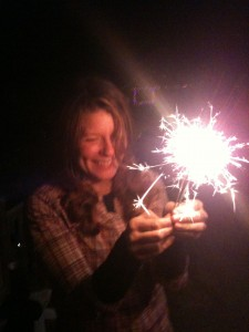 Miya with sparklers