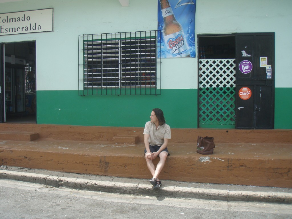 sitting on a stoop on Vieques Island, Puerto Rico