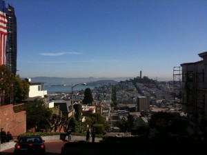 the SF skyline from the top of Hyde Street
