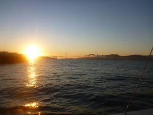 the Golden Gate Bridge at sunset