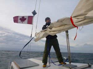 tying in a second reef while the mainsail is down
