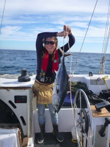 Miya with the albacore tuna she landed!