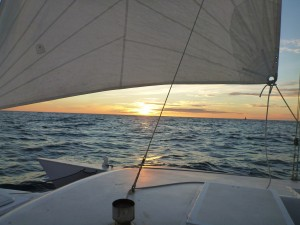 the sun sets on our first night on the ocean