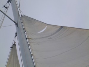 a rough night of weather results in a torn mainsail