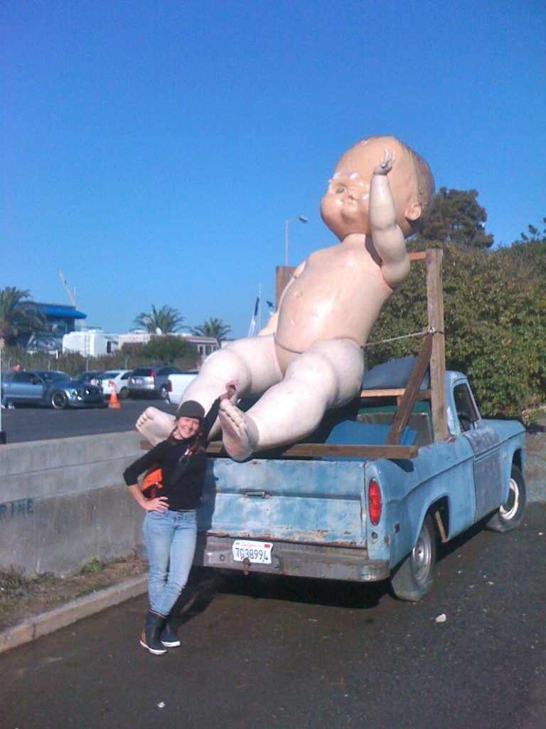 giant baby sculpture in Sausalito