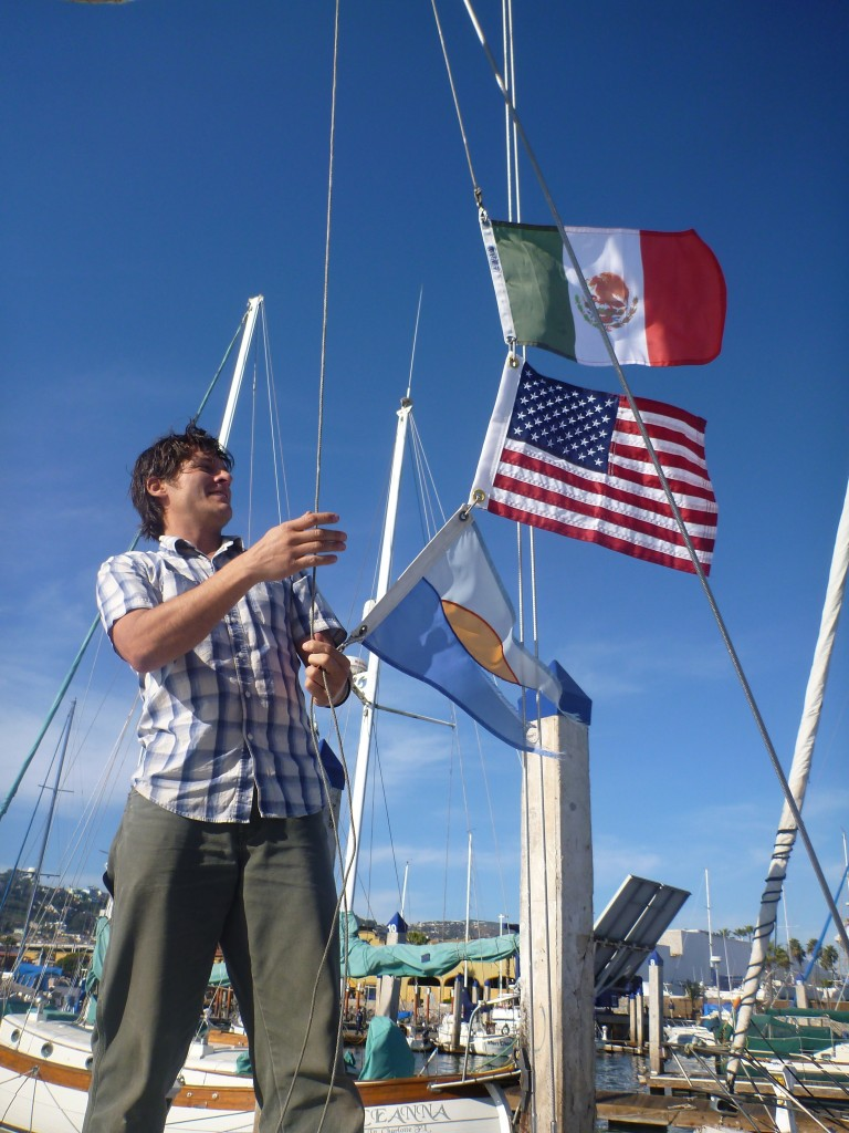 raising the Mexican courtesy flag!