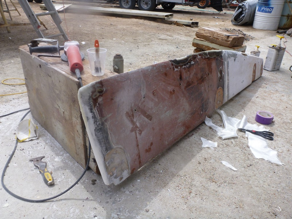 the rudder, removed for repairs