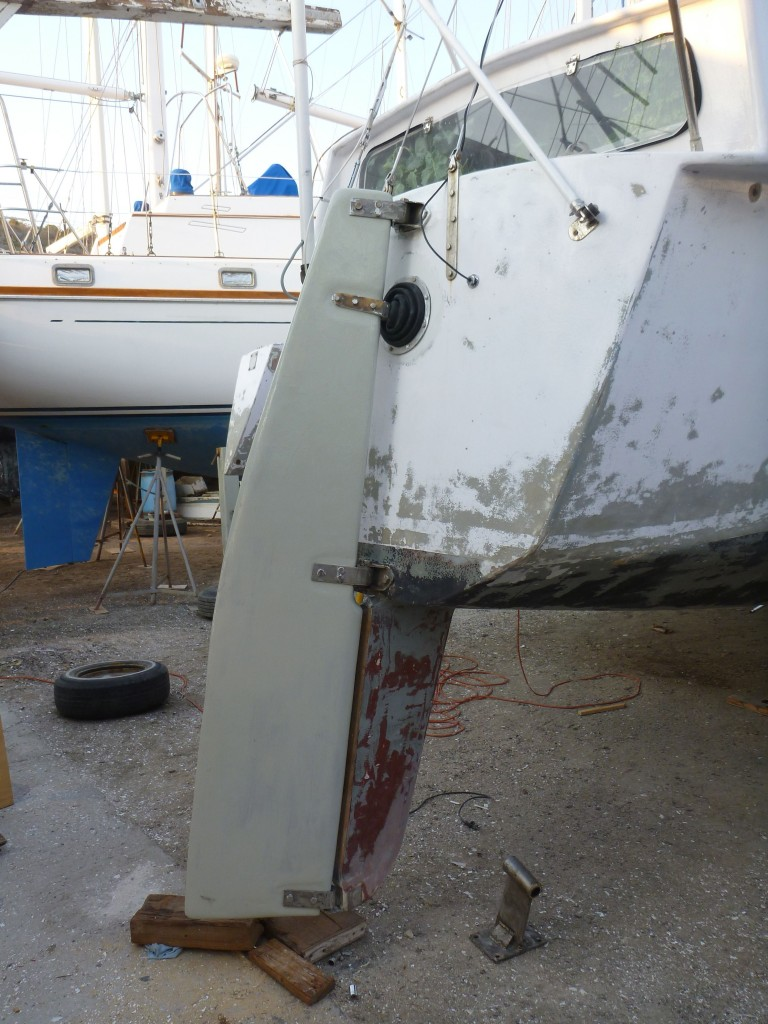the rudder, fully repaired and re-hung