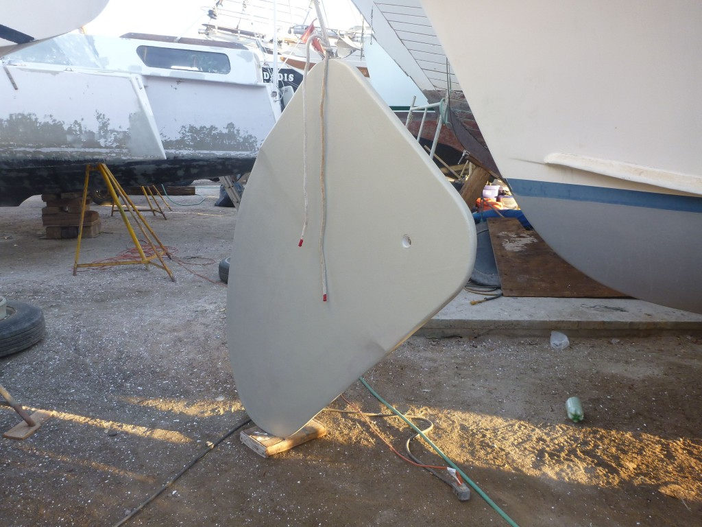 the new swing-keel shaped, glassed and primed