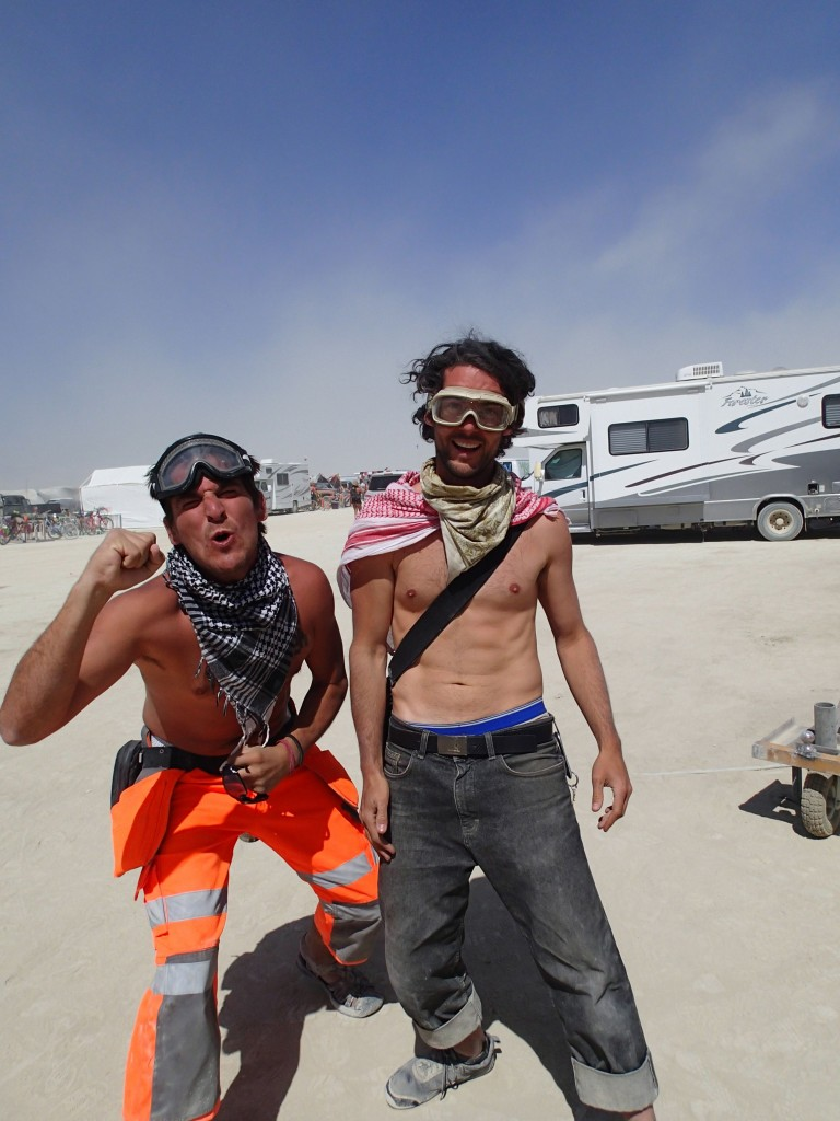 Drew and Trent at Burning Man 2012