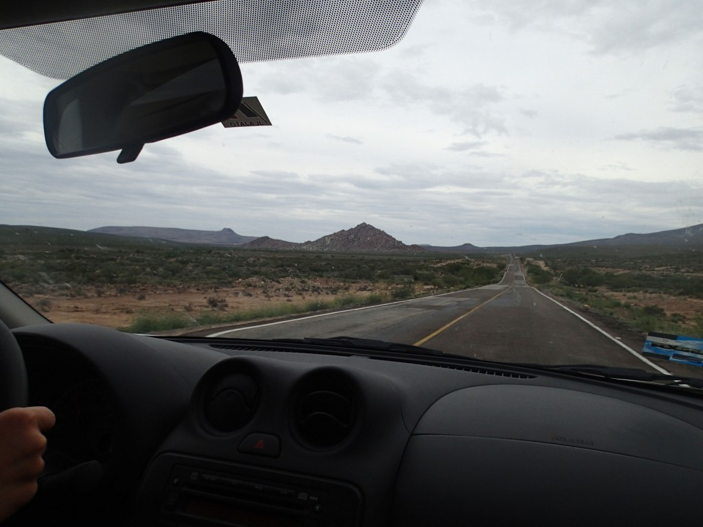 driving the long, lonely highway from La Paz to San Diego