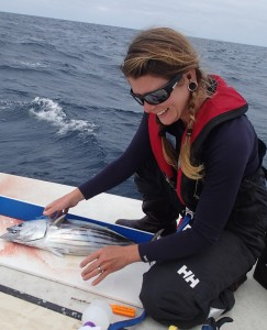 Miya with a skipjack tuna and a new engagement ring